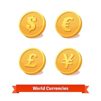 Principales símbolos de monedas representados como monedas de oro