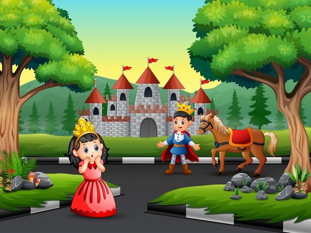 Príncipe de dibujos animados y princesita en el camino hacia el castillo