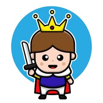 Príncipe lindo con concepto de vector de reino de ilustración de personaje de dibujos animados de espada