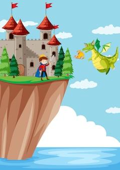 Príncipe luchando contra la escena del dragón