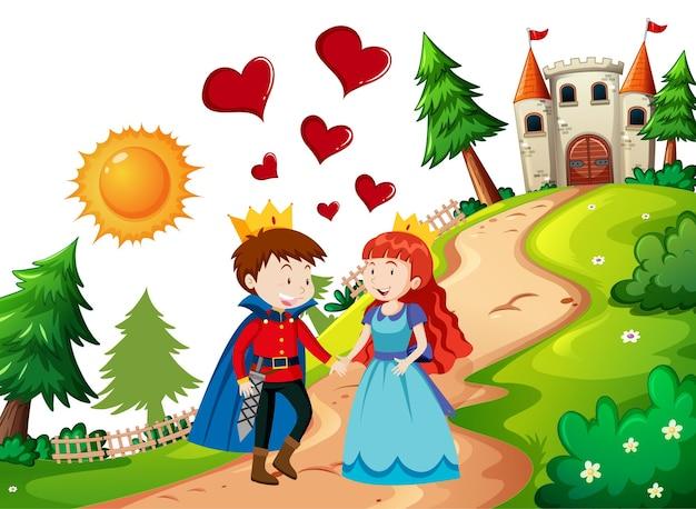 Príncipe y princesa con el castillo en la escena de la naturaleza.
