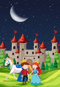 Príncipe y princesa con un castillo