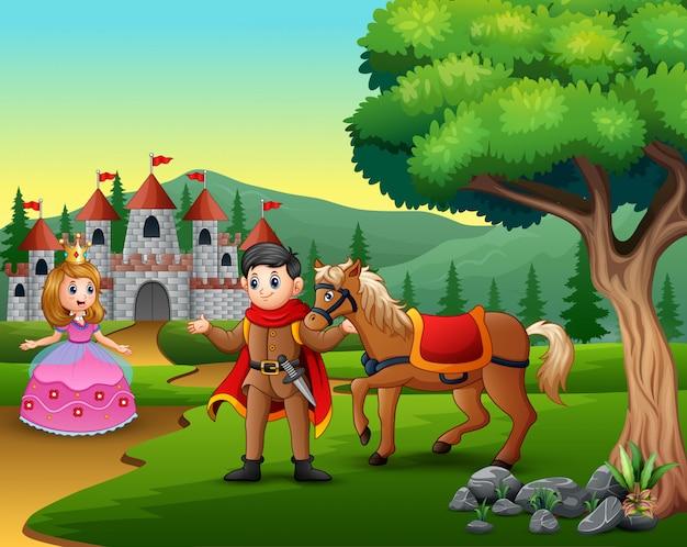 Príncipe y princesa de dibujos animados en el camino hacia el castillo