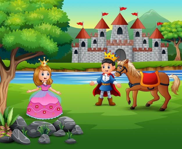 Príncipe y princesa de dibujos animados con un fondo de castillo