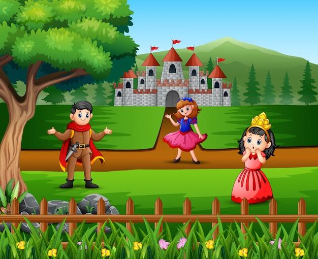 Príncipe y princesa de dibujos animados frente al castillo