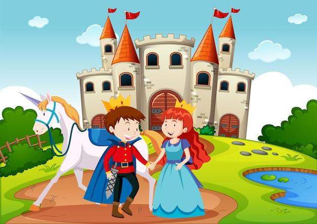 Príncipe y princesa en escena de tierra de cuento de hadas.