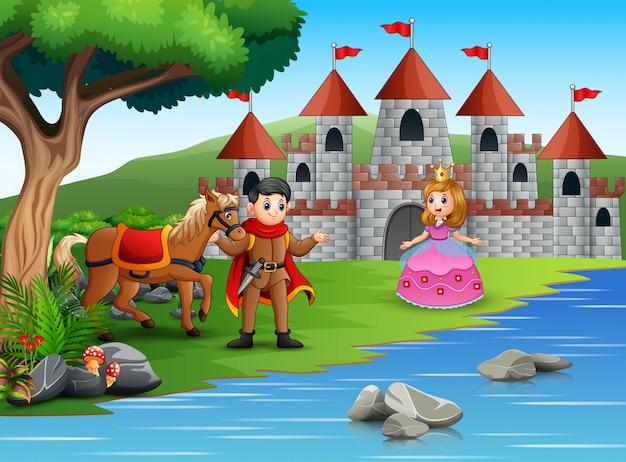 El príncipe y la princesa en un hermoso paisaje.