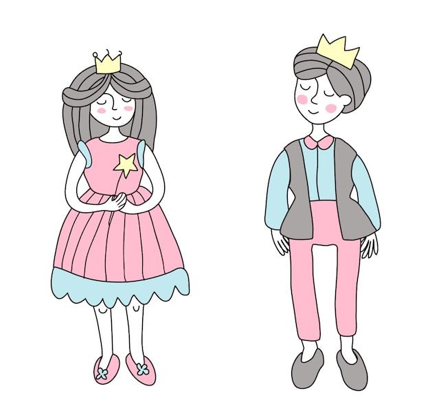 El príncipe y la princesa. ilustración en estilo sencillo, en blanco.