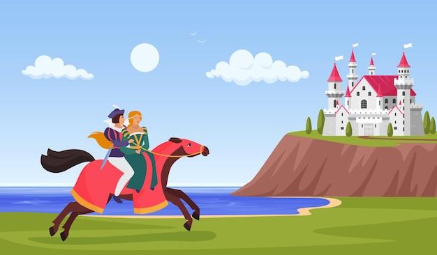 El príncipe y la princesa montan a caballo jinete al castillo en el paisaje de fantasía de montaña