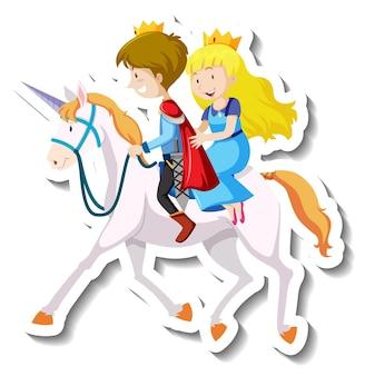 Príncipe y princesa montando a caballo juntos dibujos animados pegatina