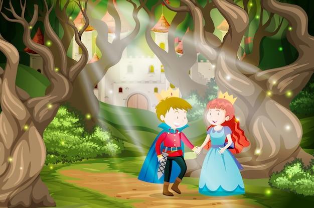 Príncipe y princesa en el mundo de fantasía.