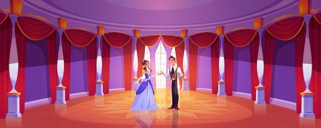 Príncipe y princesa en el salón de baile del castillo real. fondo de dibujos animados con pareja en salón de baile redondo en palacio barroco con columnas, ventanas altas y cortinas rojas.