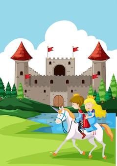 Príncipe y príncipes montando a caballo