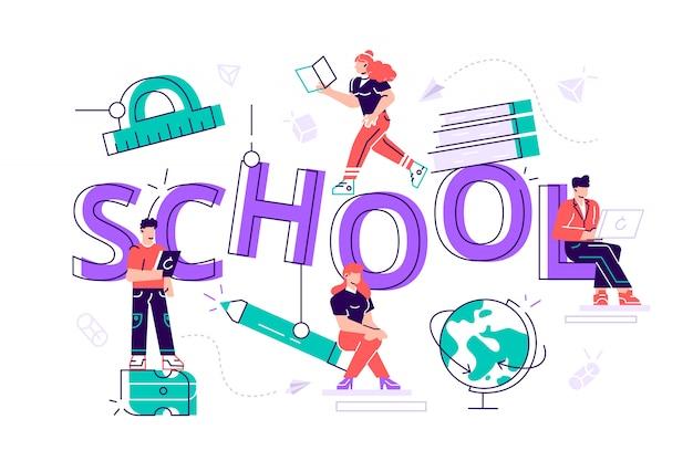 Principio de educación con pequeños personajes masculinos y femeninos con papelería escolar, estudiantes universitarios o universitarios cartel de conocimiento de regreso a la escuela folleto folleto. ilustración plana de dibujos animados