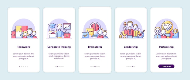 Principios de la empresa que incorporan páginas de pantalla de aplicaciones. tutorial de la aplicación de teléfono inteligente con ilustraciones de dibujos animados. plantilla de interfaz de usuario móvil con 5 pasos. diseño de interfaz de usuario con conceptos simples de color púrpura