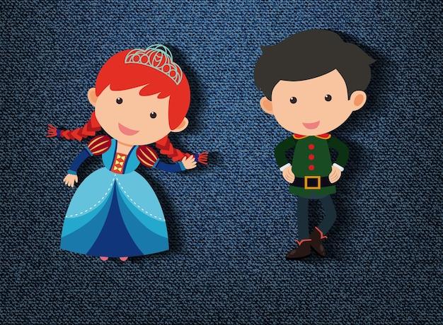 Principito y princesa personaje de dibujos animados sobre fondo azul.