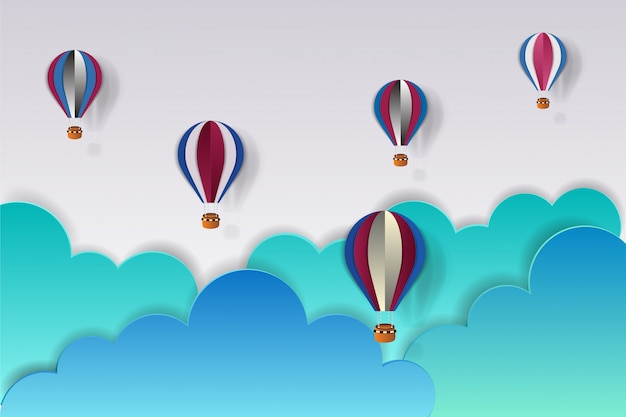 Printorigami hizo un globo de aire caliente en color de ee. uu. y una nube.