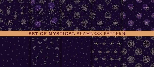 Printvector set de patrones sin fisuras con alquimia y signos místicos ojo