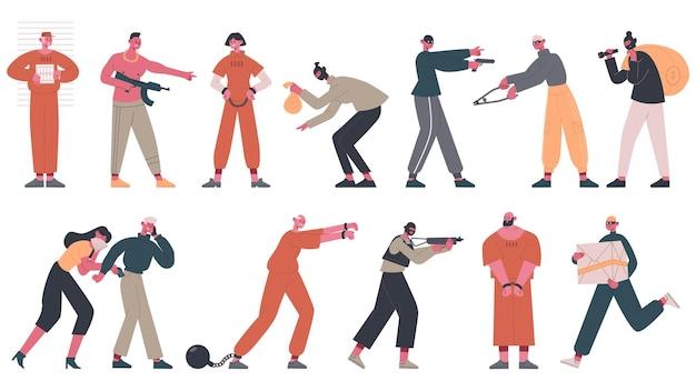 Prisioneros arrestados, ladrones y mafiosos criminales establecidos.