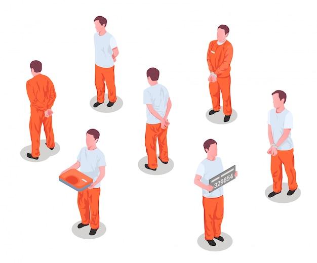 Prisioneros encarcelados criminales arrestados personas encarceladas personajes masculinos en prisión detenidos uniforme isométrico conjunto ilustración aislada
