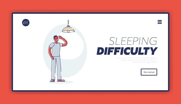 Problema para dormir hombre somnoliento cansado que sufre de insomnio