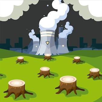 Problema de fábrica y contaminación del medio ambiente natural, ilustración de tala de árboles forestales