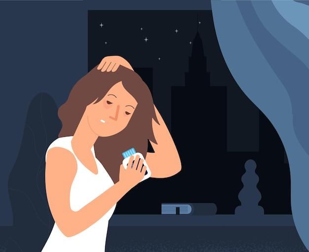 Problema de insomnio. personaje de vector de mujer soñolienta. fatidue, concepto de trastorno del sueño. chica con pastillas para dormir. problema de insomnio, ilustración de noche de estrés somnoliento