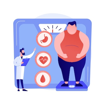 Problema de obesidad. diagnóstico y consulta médica de hombre con sobrepeso. impacto negativo de la obesidad en la salud humana y los órganos internos. ilustración de metáfora de concepto aislado de vector