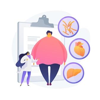 Problema de obesidad. diagnóstico y consulta médica de hombre con sobrepeso. impacto negativo de la obesidad en la salud humana y los órganos internos.