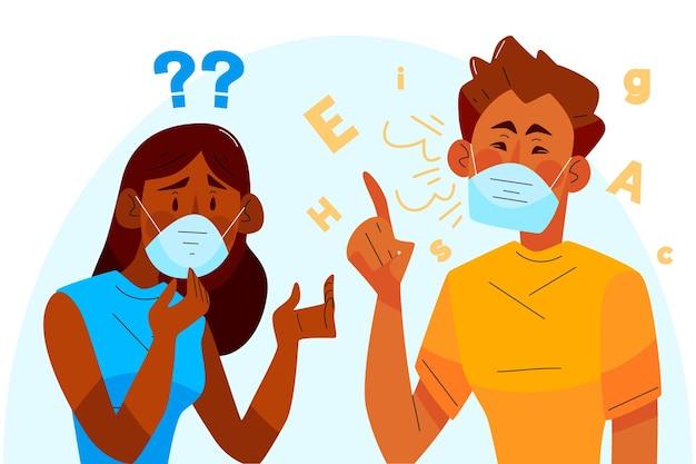 Problema orgánico de lectura de labios planos debido a mascarillas faciales