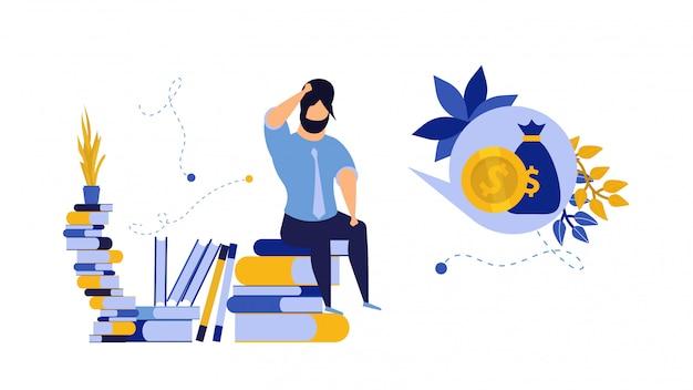 Problema de préstamo hombre deuda empresarial ilustración financiera empresario crédito.