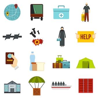 Problema de los refugiados establece iconos planos