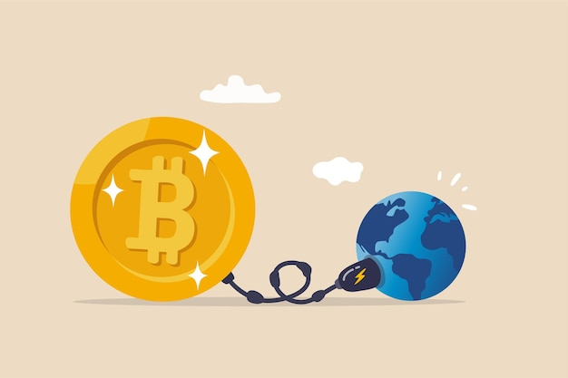 Problema de sostenibilidad de criptomonedas, bitcoin y consumo de energía de minería de criptomonedas no concepto amigable con el medio ambiente, big bitcoin con enchufe eléctrico que succiona energía del planeta tierra.