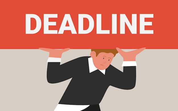 Problema de trabajo de presión de estrés de fecha límite empleado cansado con letras de fecha límite pesadas