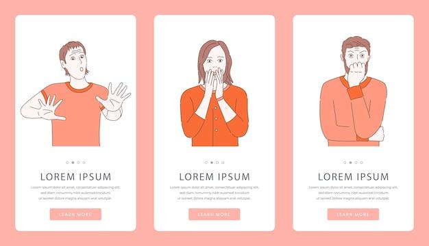Problemas mentales o psicología consejería pantallas de aplicaciones móviles. hombres y mujeres asustados, aterrados, histéricos.