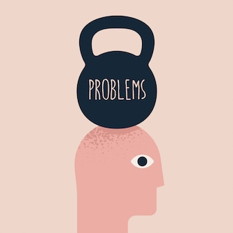 Problemas, bajo presión, ilustración del concepto de dolor de cabeza con la silueta de la cabeza de los humanos y el peso anterior con el subtítulo de problemas. título de salud mental. ilustración