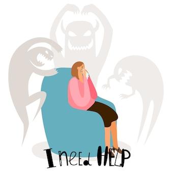 Problemas psicológicos, concepto de trastornos mentales con mujer llorando y fantasmas de miedo
