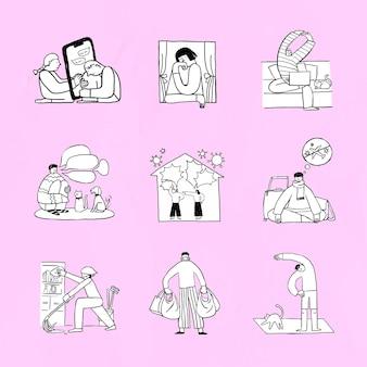 Problemas sociales durante la crisis del coronavirus conjunto de elementos de doodle