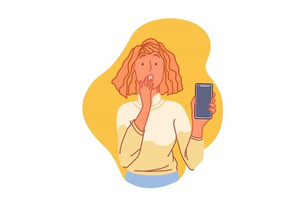 Problemas con el teléfono inteligente, concepto de problema técnico