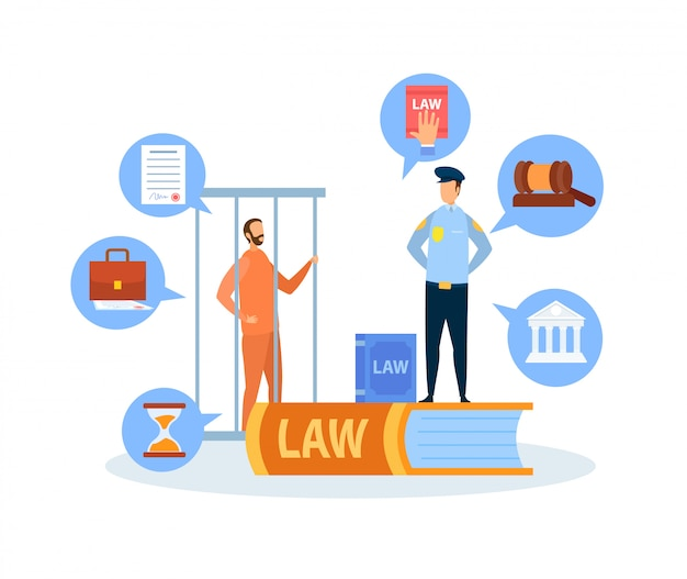 Procedimiento penal de juicio, ilustración vectorial