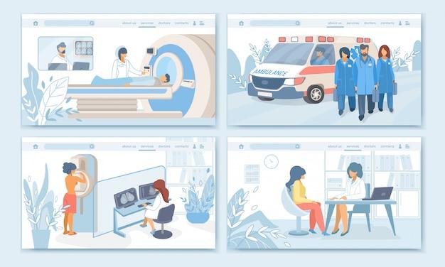 Procedimientos, conjunto de banners de profesión tratamiento medicina paciente