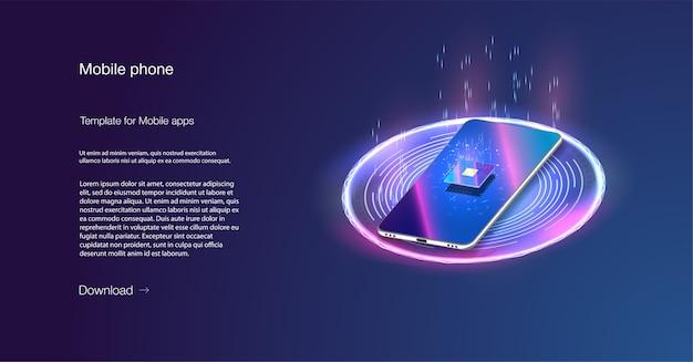 Procesador del banner iso. teléfono cuántico, procesamiento de big data, concepto de base de datos. chip digital.