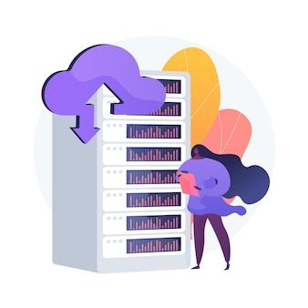 Procesador de hospedaje. almacén de memoria de emergencia. clúster de dominio, respaldo de emergencia, carga de archivos. equipo de sala técnica. centro de datos accesible. ilustración de metáfora de concepto aislado de vector.