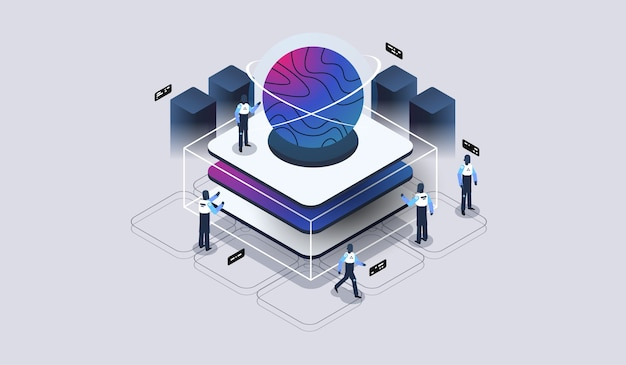 Procesamiento de big data, almacén del centro de datos, ciencia de datos, sala de servidores. visualización tecnológica. ilustración isométrica moderna.