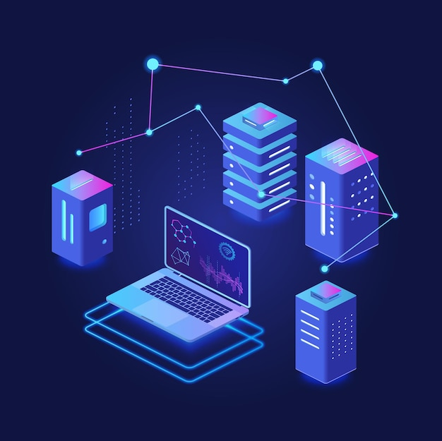 Procesamiento de big data, alojamiento y servidor, plataforma virtual de base de datos concepto isométrico de neón oscuro
