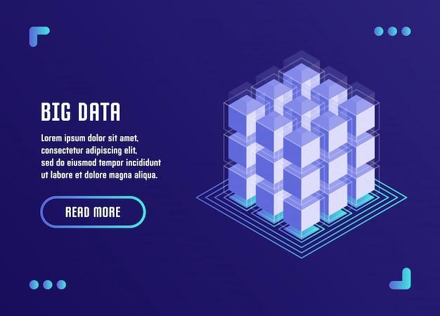 Procesamiento de big data, análisis de datos, almacenamiento de datos, tecnología blockchain. ilustración del vector en estilo plano isométrico 3d.