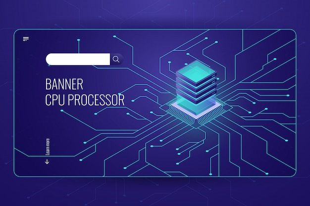 Procesamiento de big data, banner isométrico del procesador cpu, transferencia y cálculo de datos de red