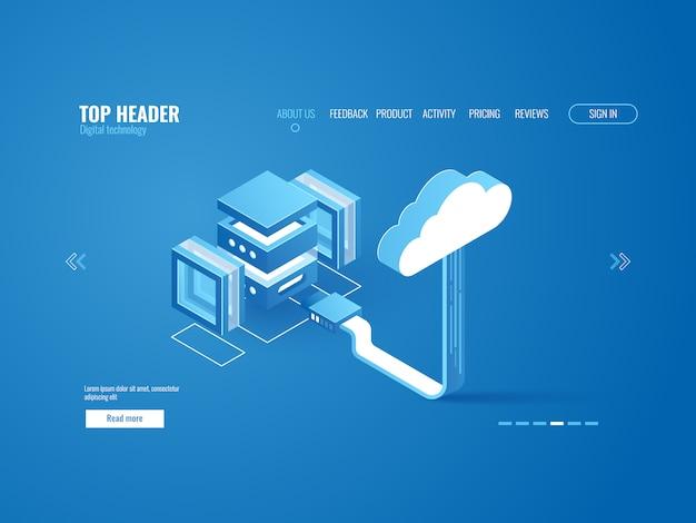 Procesamiento de datos, conexión a sala de servidores con almacén de almacenamiento en la nube.