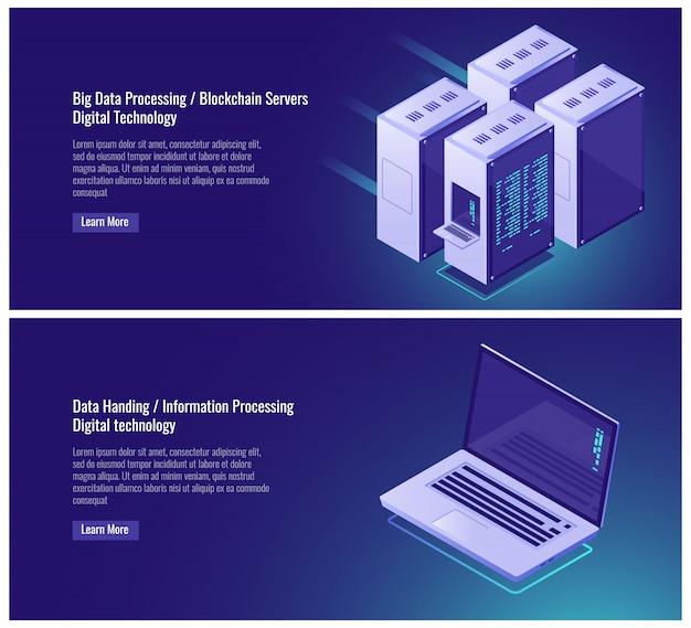 Procesamiento de datos grandes, blockchain, tecnología digital, rack de sala de servidores