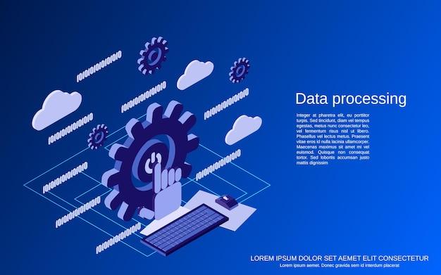 Procesamiento de datos plano 3d ilustración de concepto de vector isométrico